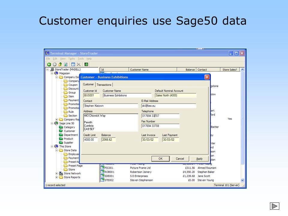 Customer enquiries use Sage50 data
