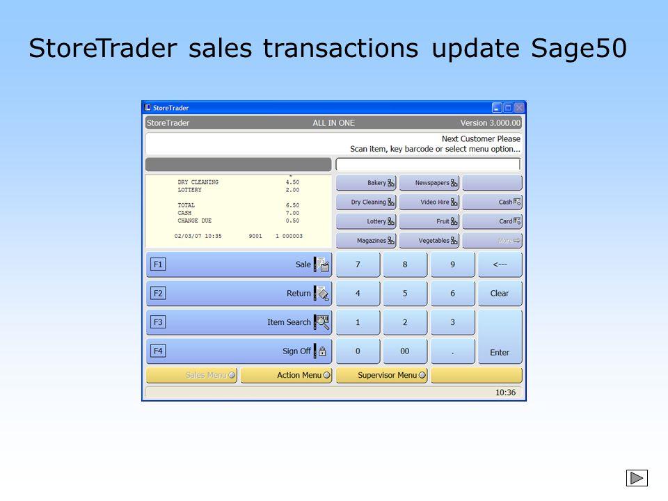 StoreTrader sales transactions update Sage50