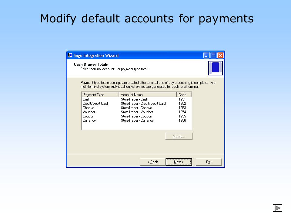 Modify default accounts for payments