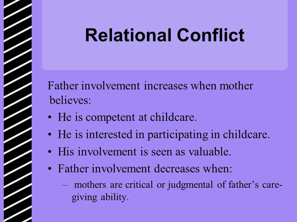 Relational Conflict Father involvement increases when mother believes: He is competent at childcare.