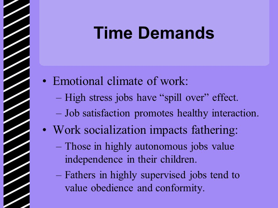 Time Demands Emotional climate of work: –High stress jobs have spill over effect.