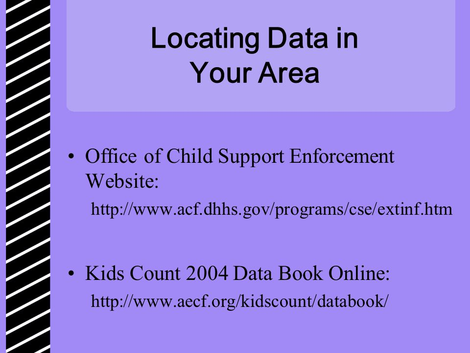 Locating Data in Your Area Office of Child Support Enforcement Website: http://www.acf.dhhs.gov/programs/cse/extinf.htm Kids Count 2004 Data Book Online: http://www.aecf.org/kidscount/databook/