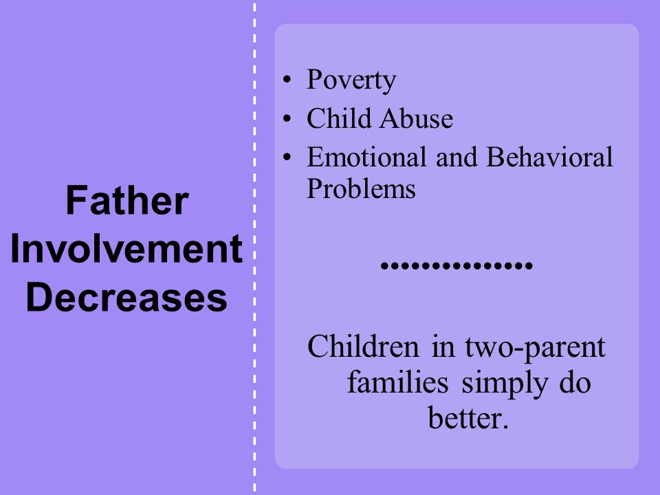 Father Involvement Decreases Poverty Child Abuse Emotional and Behavioral Problems Children in two-parent families simply do better.