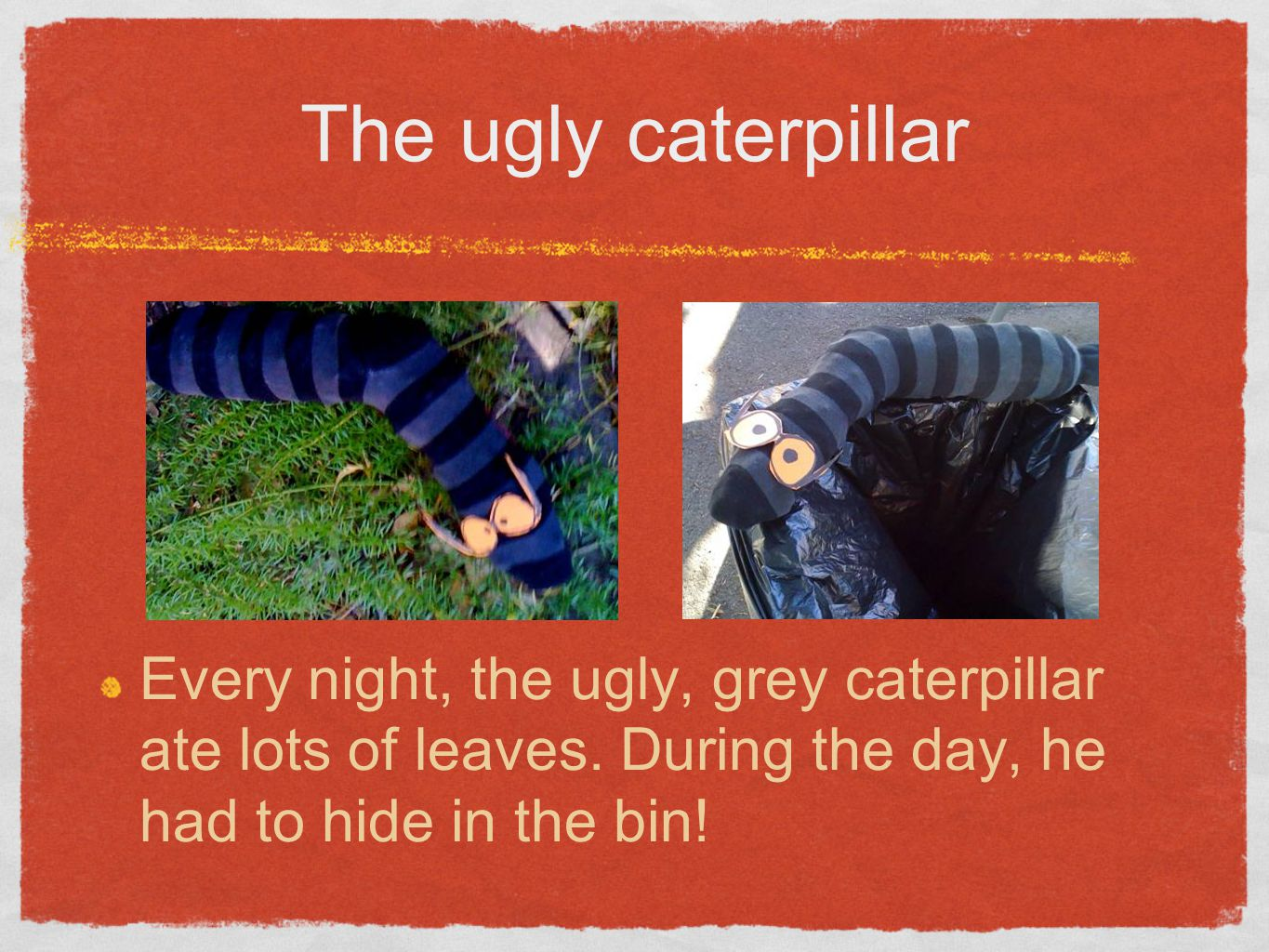 The ugly caterpillar Every night, the ugly, grey caterpillar ate lots of leaves.