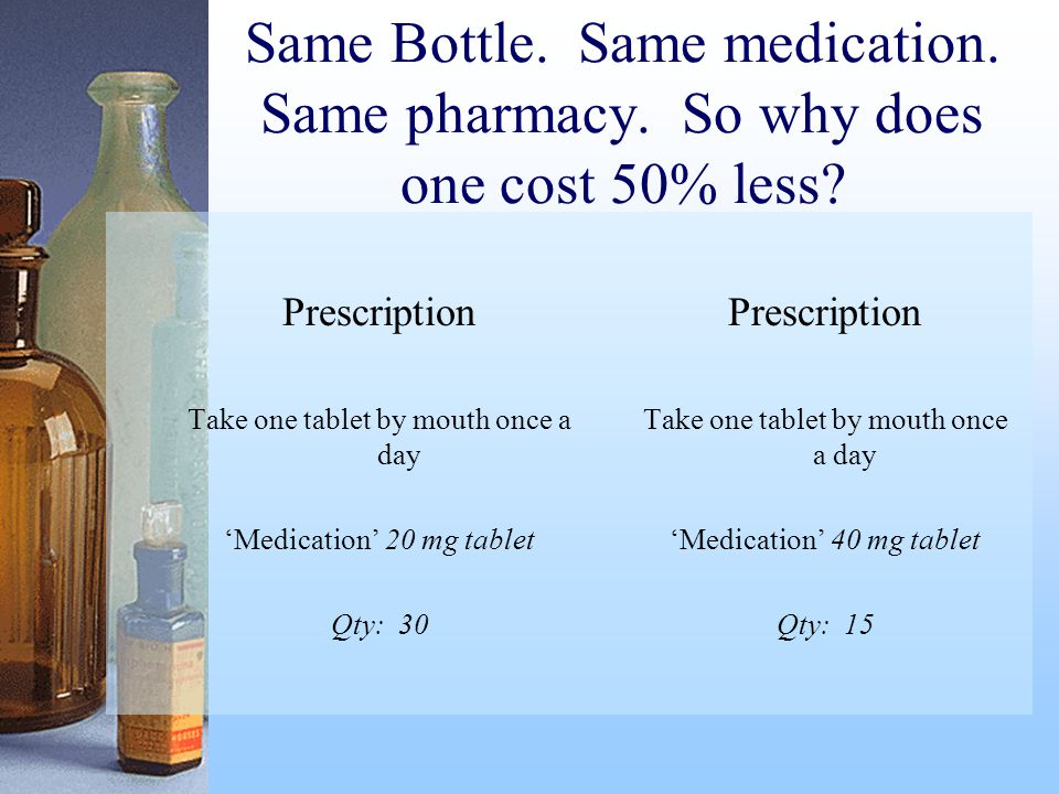 Same Bottle.Same medication. Same pharmacy. So why does one cost 50% less.