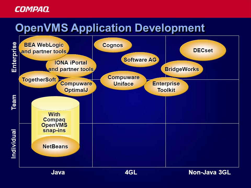 Individual Team Enterprise JavaNon-Java 3GL4GL IONA iPortal and partner tools BridgeWorks OpenVMS Application Development EnterpriseToolkit DECset NetBeans BEA WebLogic and partner tools NetBeans With Compaq OpenVMS snap-ins Cognos Software AG TogetherSoft CompuwareOptimalJ CompuwareUniface
