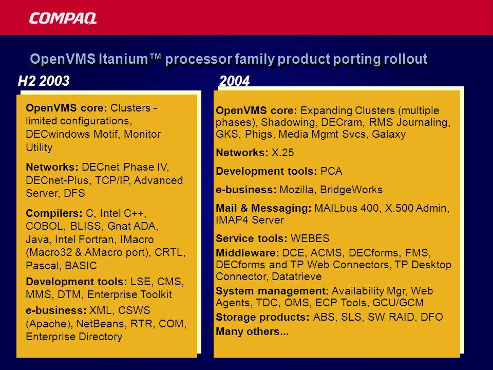 For more information  Compaq and Intel® Initiative http://www.compaq.com/hps/ipf-enterprise/  Itanium™ processor family architecture: ftp://download.intel.com/design/IA-64/Downloads/archSysSoftware.pdf  Itanium™ processor family processor hardware: ftp://download.intel.com/design/IA-64/Downloads/24870101.pdf  Software manuals: http://developer.intel.com/design/itanium/manuals.htm