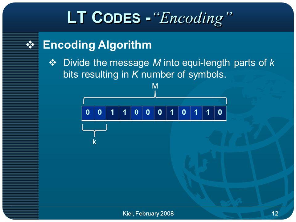 LT C ODES - Encoding  Encoding Algorithm  Divide the message M into equi-length parts of k bits resulting in K number of symbols.