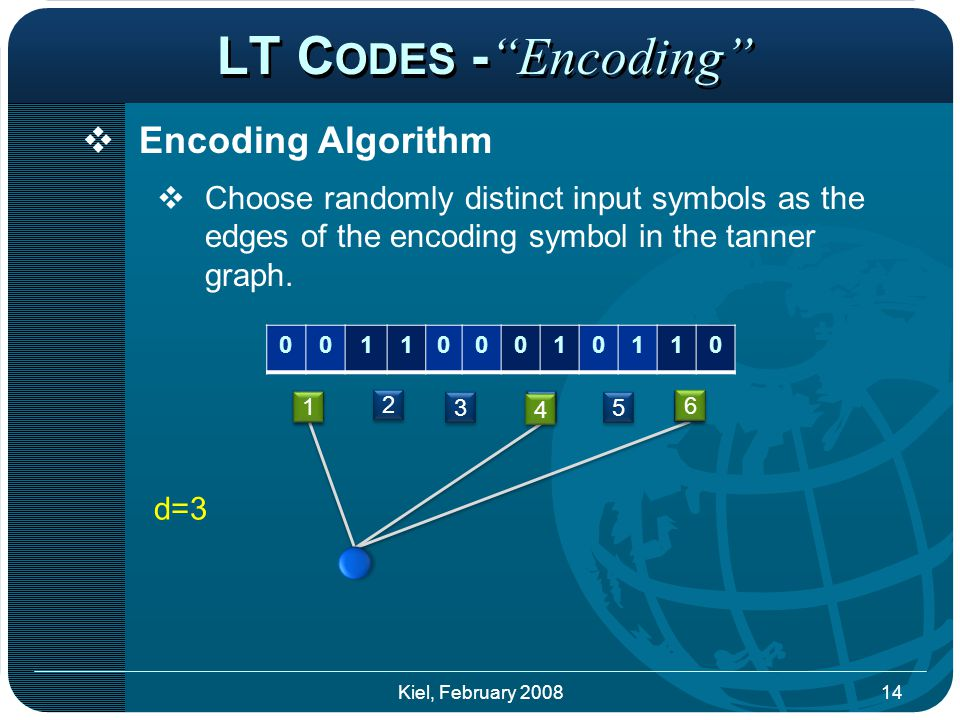 LT C ODES - Encoding  Encoding Algorithm  Choose randomly distinct input symbols as the edges of the encoding symbol in the tanner graph.