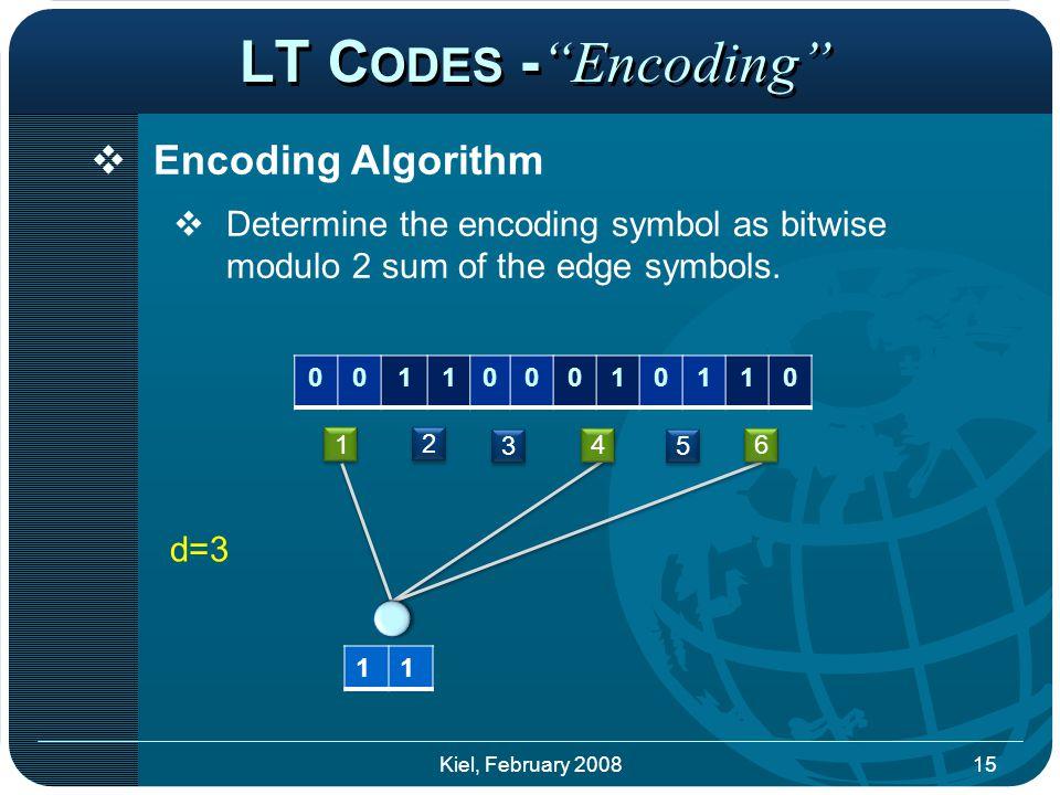 LT C ODES - Encoding  Encoding Algorithm  Determine the encoding symbol as bitwise modulo 2 sum of the edge symbols.