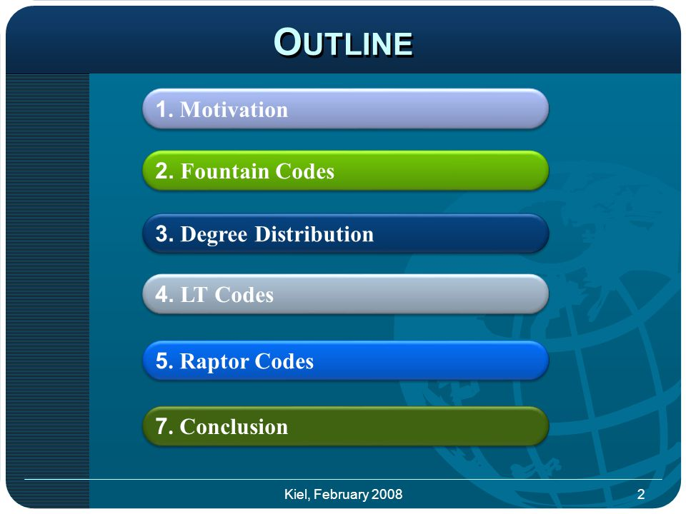 O UTLINE 2. Fountain Codes 4. LT Codes 5. Raptor Codes 7.