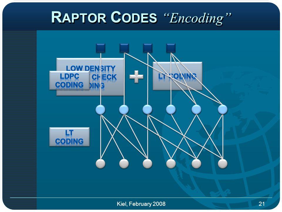 R APTOR C ODES Encoding 21Kiel, February 2008