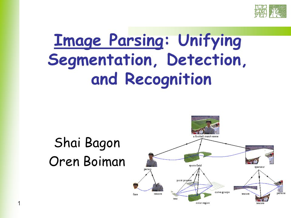 1 Image Parsing: Unifying Segmentation, Detection, and Recognition Shai Bagon Oren Boiman