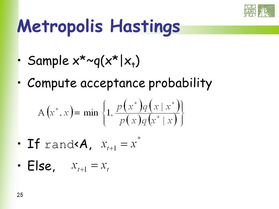 25 Metropolis Hastings Sample x*~q(x*|x t ) Compute acceptance probability If rand <A, Else,
