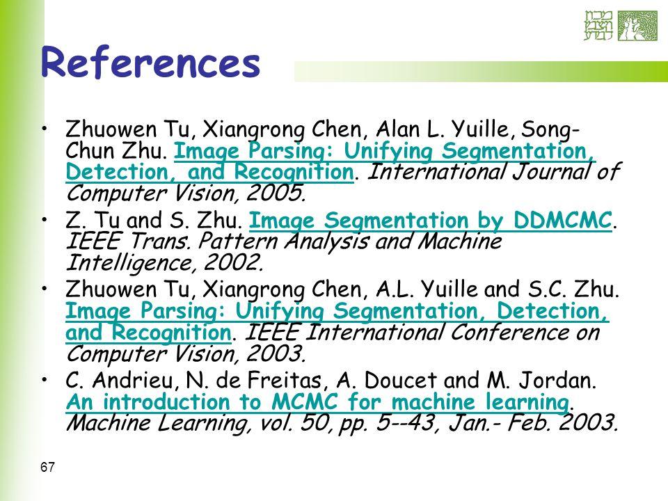 67 References Zhuowen Tu, Xiangrong Chen, Alan L. Yuille, Song- Chun Zhu.