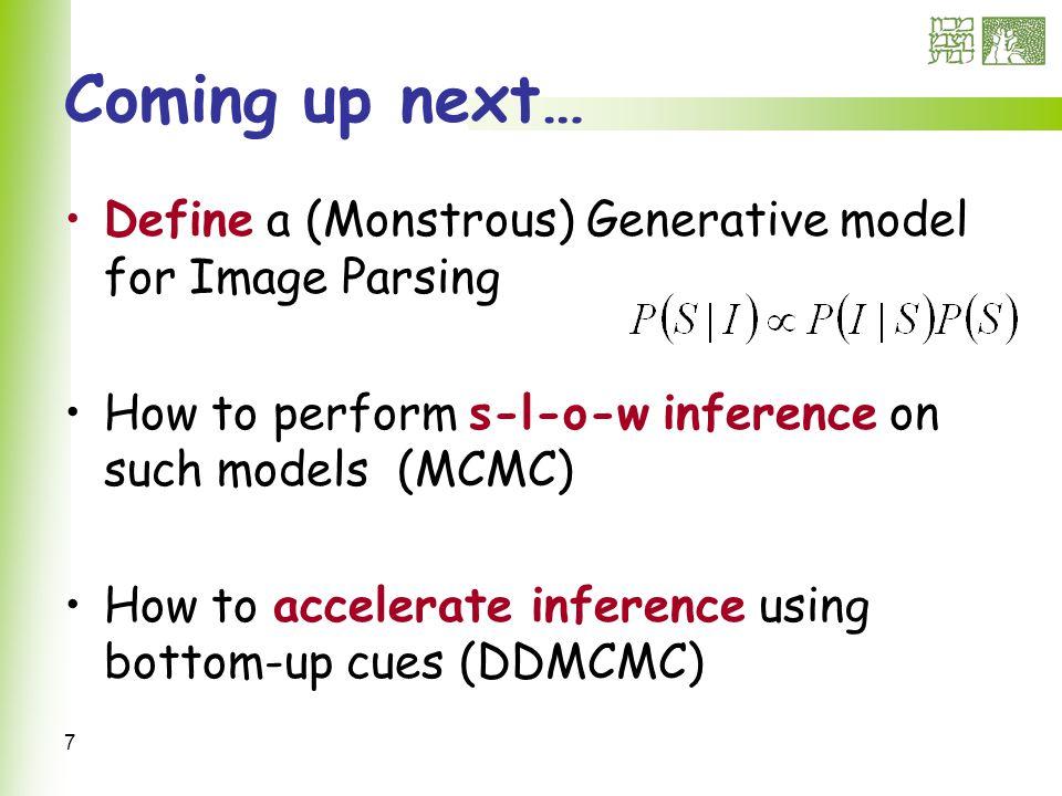 78 Generic region – split/merge Splitting k into i,j or merging i,j into k Suggestions are weighted Region Affinity Shape Prior Parameter Clustering Current Region Probability Current parameters Probability