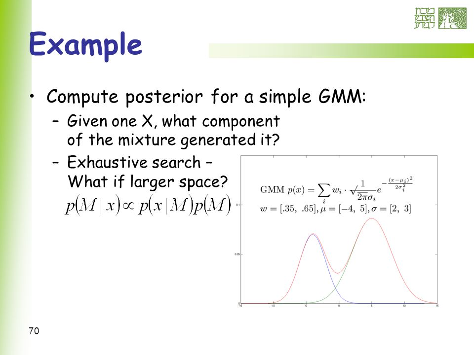 70 Example Compute posterior for a simple GMM: –Given one X, what component of the mixture generated it.