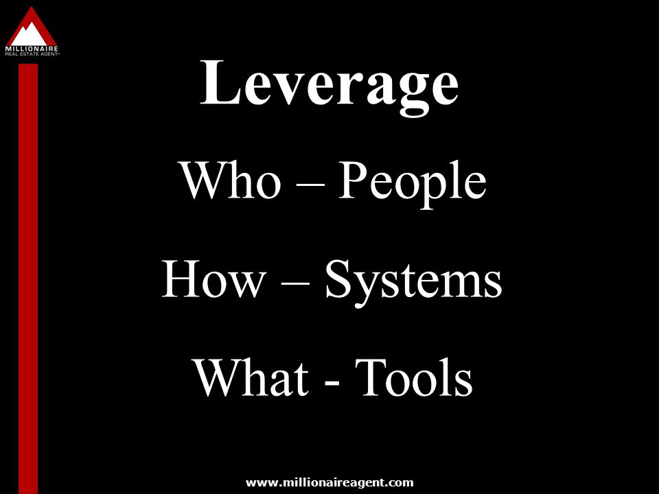 www.millionaireagent.com Leverage Who – People How – Systems What - Tools