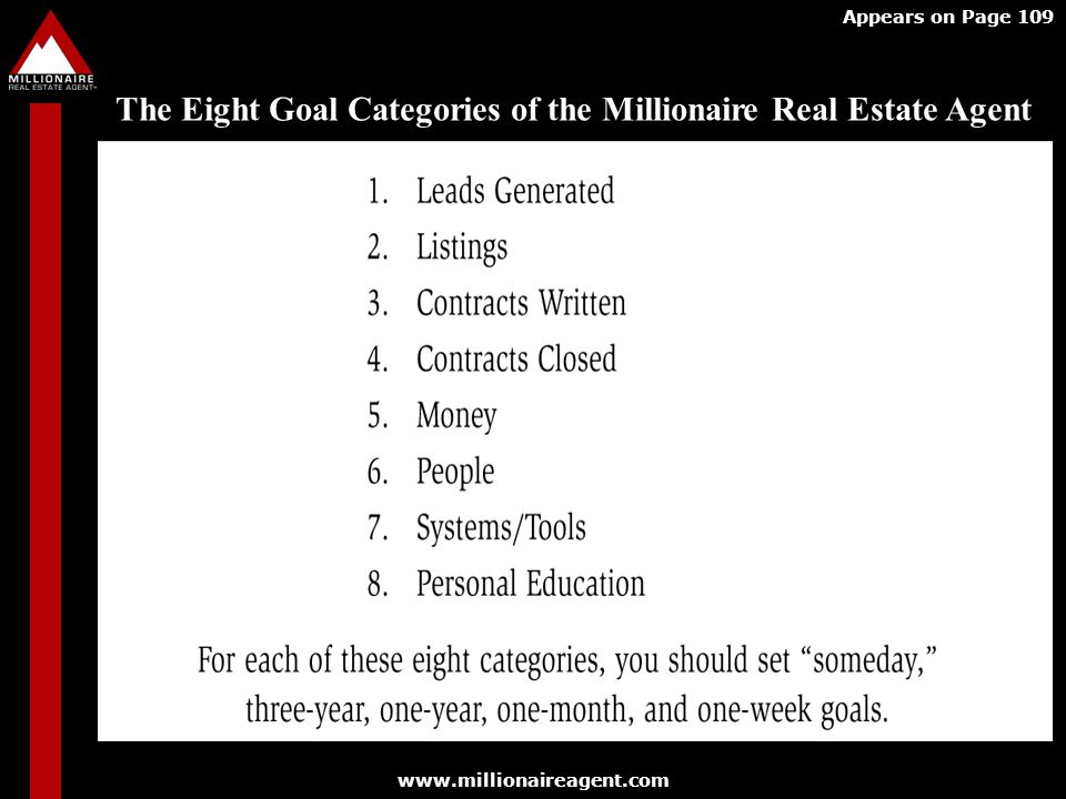 www.millionaireagent.com Appears on Page 109 The Eight Goal Categories of the Millionaire Real Estate Agent