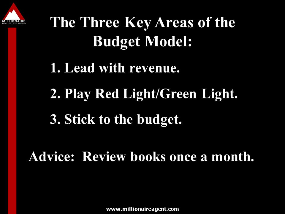 The Three Key Areas of the Budget Model: 1.Lead with revenue.