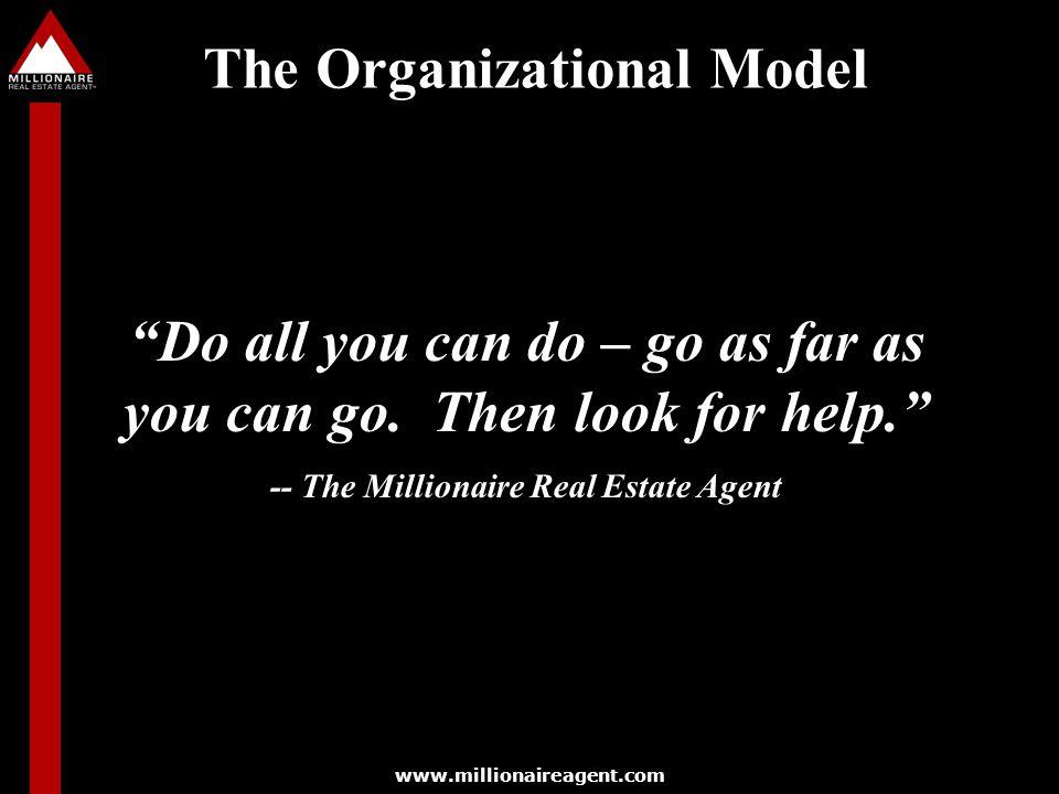 www.millionaireagent.com The Organizational Model Do all you can do – go as far as you can go.