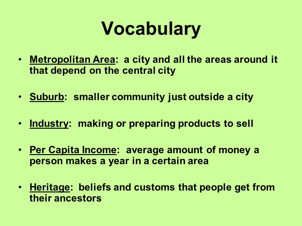 Vocabulary Metropolitan Area: a city and all the areas around it that depend on the central city Suburb: smaller community just outside a city Industry: making or preparing products to sell Per Capita Income: average amount of money a person makes a year in a certain area Heritage: beliefs and customs that people get from their ancestors