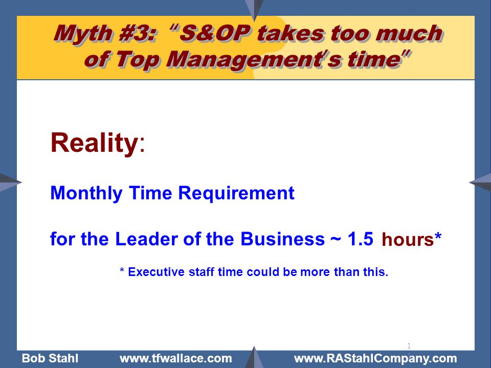 """Bob Stahl www.tfwallace.com www.RAStahlCompany.com 15 Myth #3: """"S&OP takes too much of Top Management's time"""" Reality: Monthly Time Requirement for th"""
