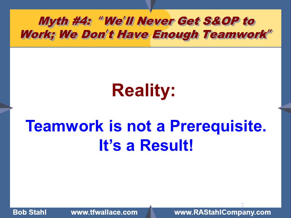 """Bob Stahl www.tfwallace.com www.RAStahlCompany.com 20 Myth #4: """"We'll Never Get S&OP to Work; We Don't Have Enough Teamwork"""" Reality: Teamwork is not"""