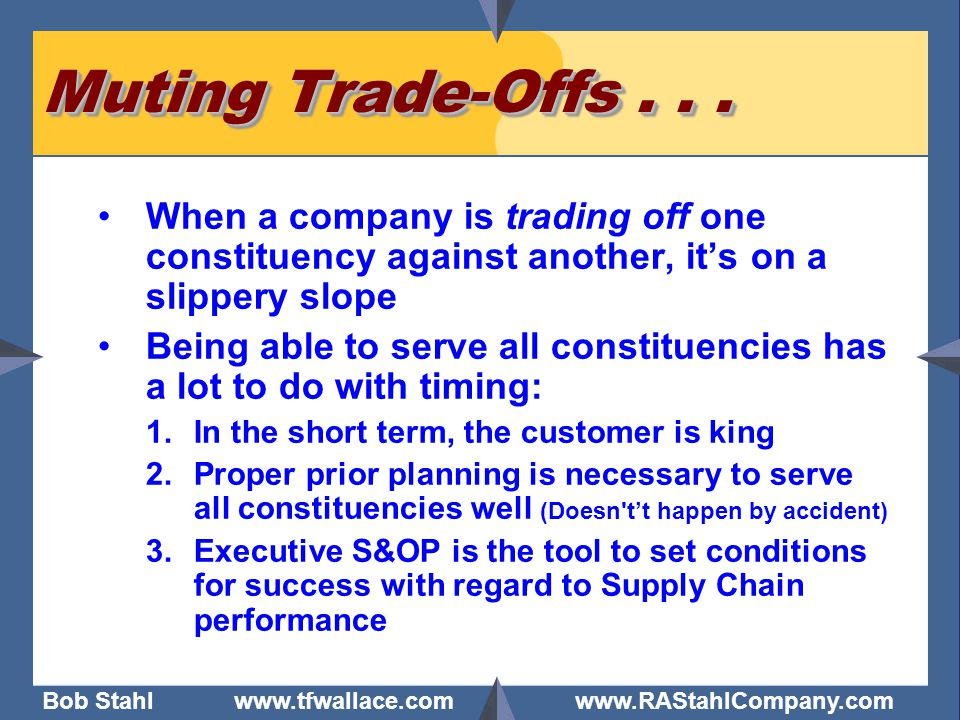 Bob Stahl www.tfwallace.com www.RAStahlCompany.com 15 Myth #3: S&OP takes too much of Top Management's time Reality: Monthly Time Requirement for the Leader of the Business ~ 1.5 * Executive staff time could be more than this.