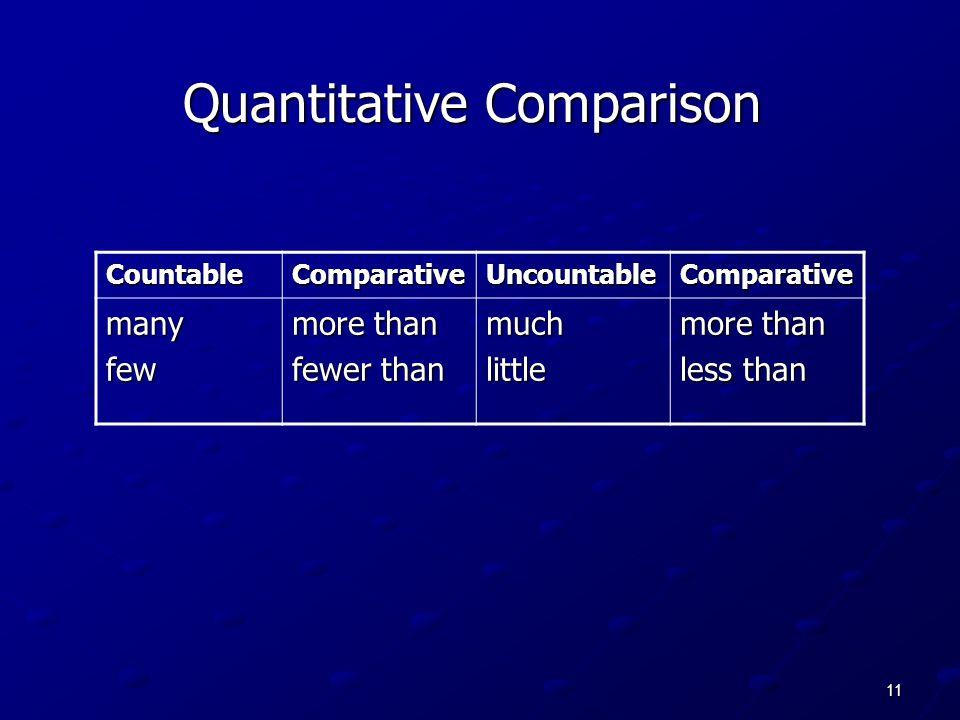 11 Quantitative Comparison CountableComparativeUncountableComparative manyfew more than fewer than muchlittle more than less than
