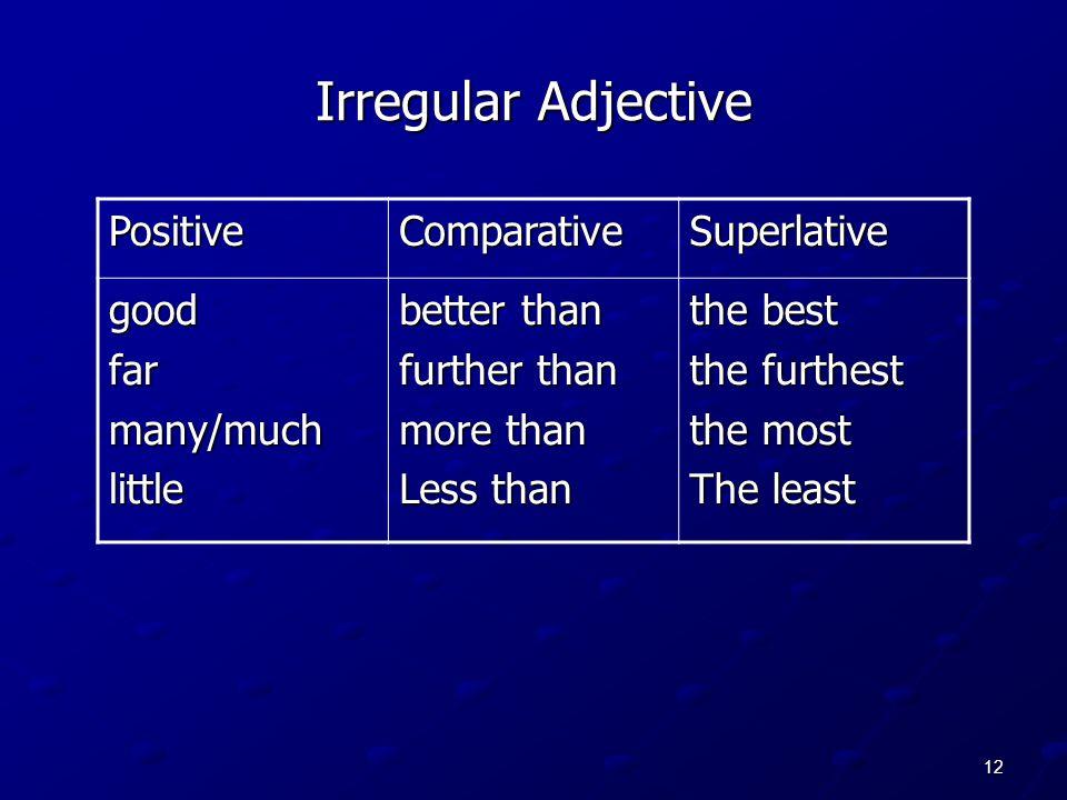 12 Irregular Adjective PositiveComparativeSuperlative goodfarmany/muchlittle better than further than more than Less than the best the furthest the mo