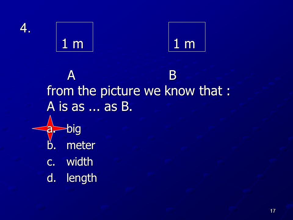 17 4. 1 m 1 m A B from the picture we know that : A is as... as B. a.big b.meter c.width d.length