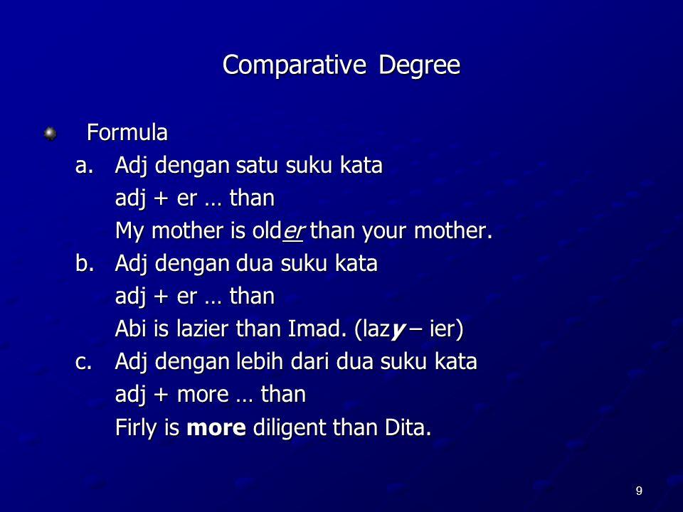9 Comparative Degree Formula a.Adj dengan satu suku kata adj + er … than My mother is older than your mother. b.Adj dengan dua suku kata adj + er … th