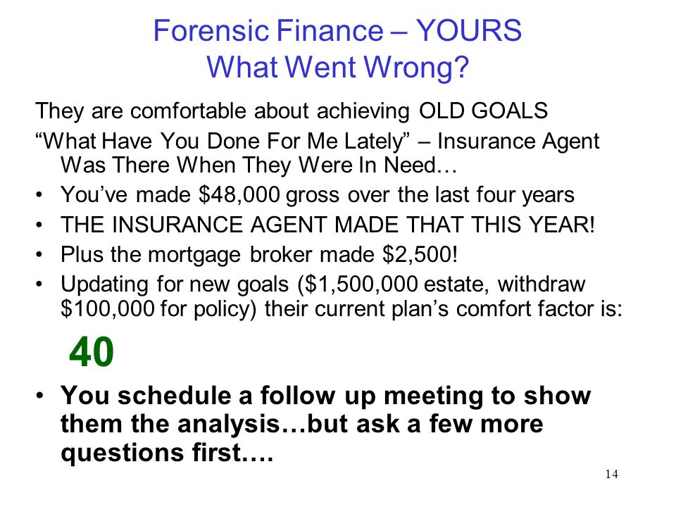 "14 Forensic Finance – YOURS What Went Wrong? They are comfortable about achieving OLD GOALS ""What Have You Done For Me Lately"" – Insurance Agent Was T"