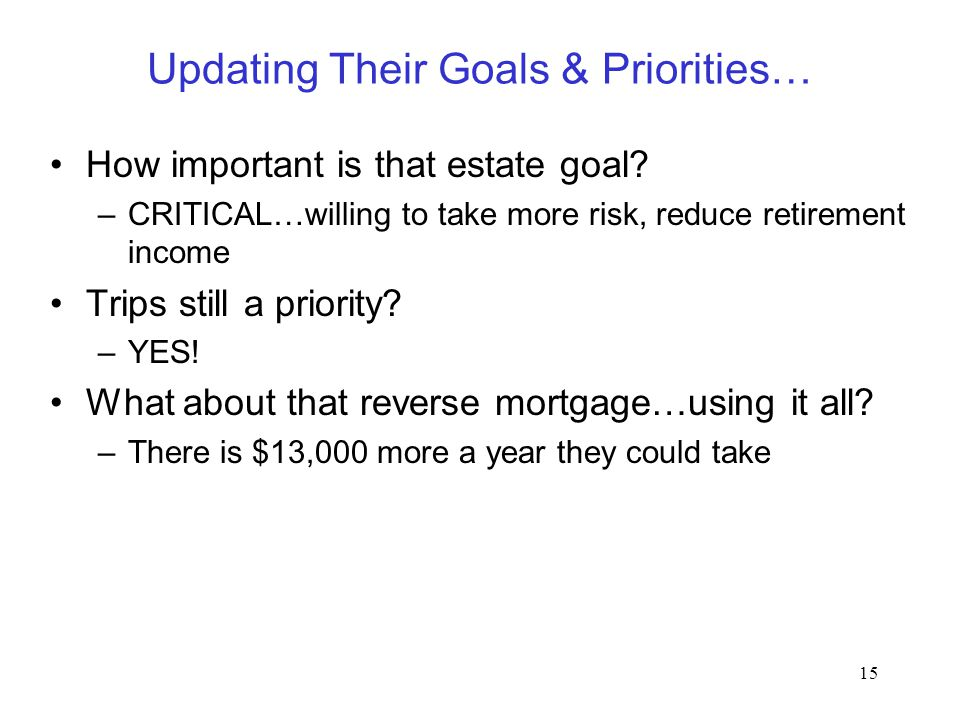 15 Updating Their Goals & Priorities… How important is that estate goal? –CRITICAL…willing to take more risk, reduce retirement income Trips still a p