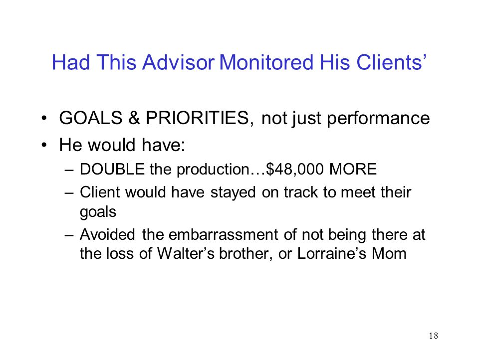 18 Had This Advisor Monitored His Clients' GOALS & PRIORITIES, not just performance He would have: –DOUBLE the production…$48,000 MORE –Client would h