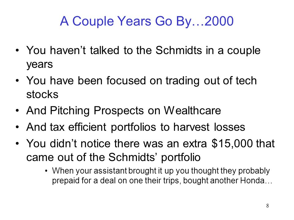 8 A Couple Years Go By…2000 You haven't talked to the Schmidts in a couple years You have been focused on trading out of tech stocks And Pitching Pros