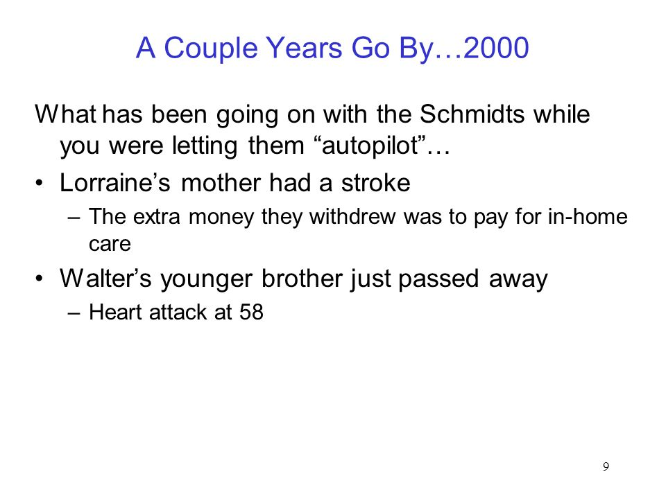 "9 A Couple Years Go By…2000 What has been going on with the Schmidts while you were letting them ""autopilot""… Lorraine's mother had a stroke –The extr"