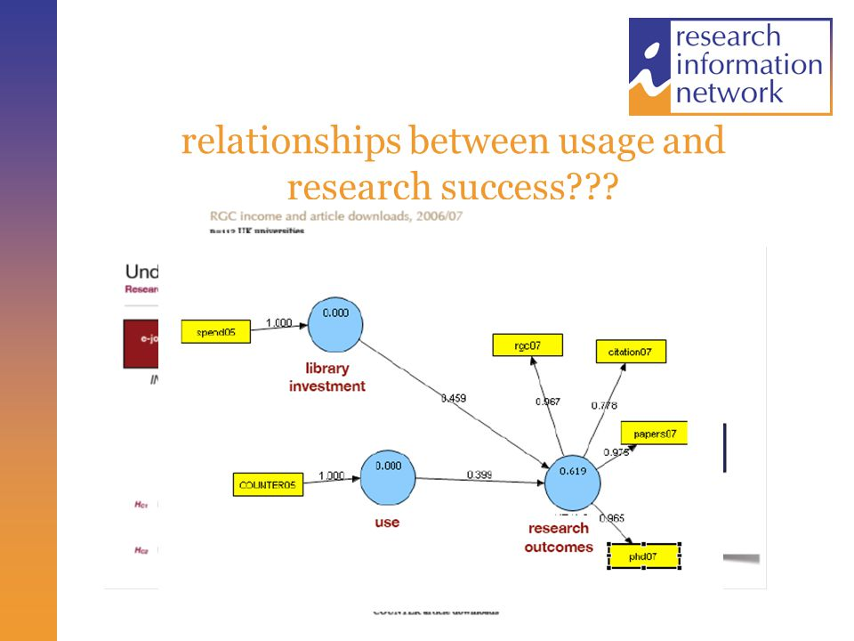 relationships between usage and research success???