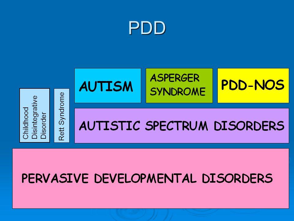 PDD Childhood Disintegrative Disorder Rett Syndrome