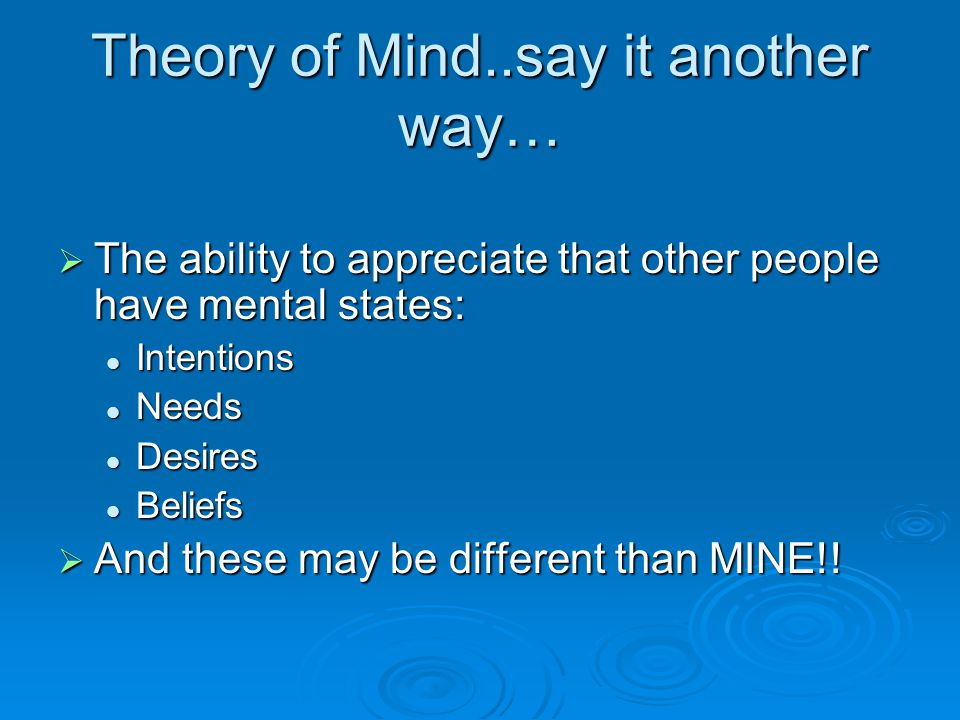 Theory of Mind..say it another way…  The ability to appreciate that other people have mental states: Intentions Intentions Needs Needs Desires Desire