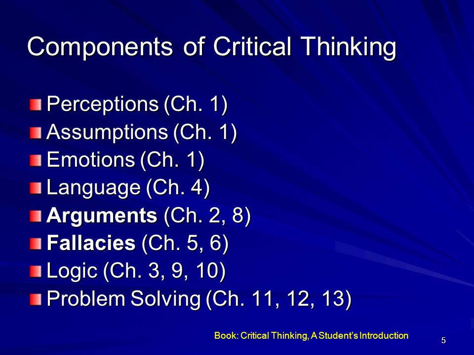 6 Arguments Critical Thinking is concerned with recognizing, understanding, constructing, and critically evaluating arguments.