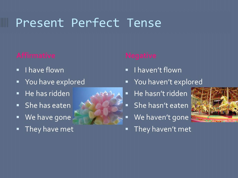 Present Perfect Tense AffirmativeNegative  I have flown  You have explored  He has ridden  She has eaten  We have gone  They have met  I haven't flown  You haven't explored  He hasn't ridden  She hasn't eaten  We haven't gone  They haven't met