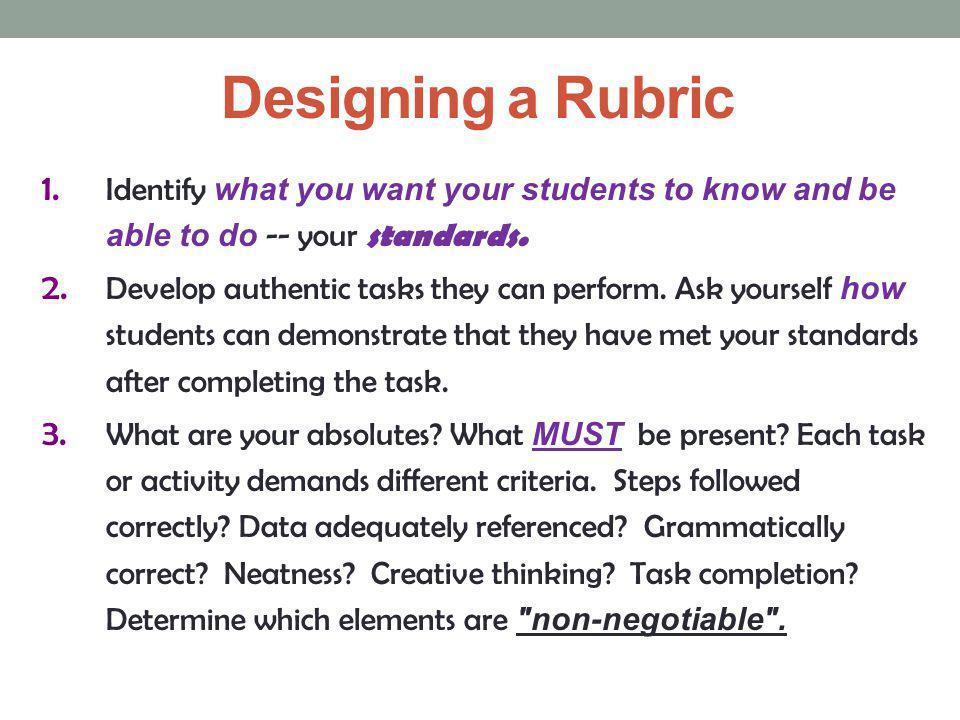Designing a Rubric 4.