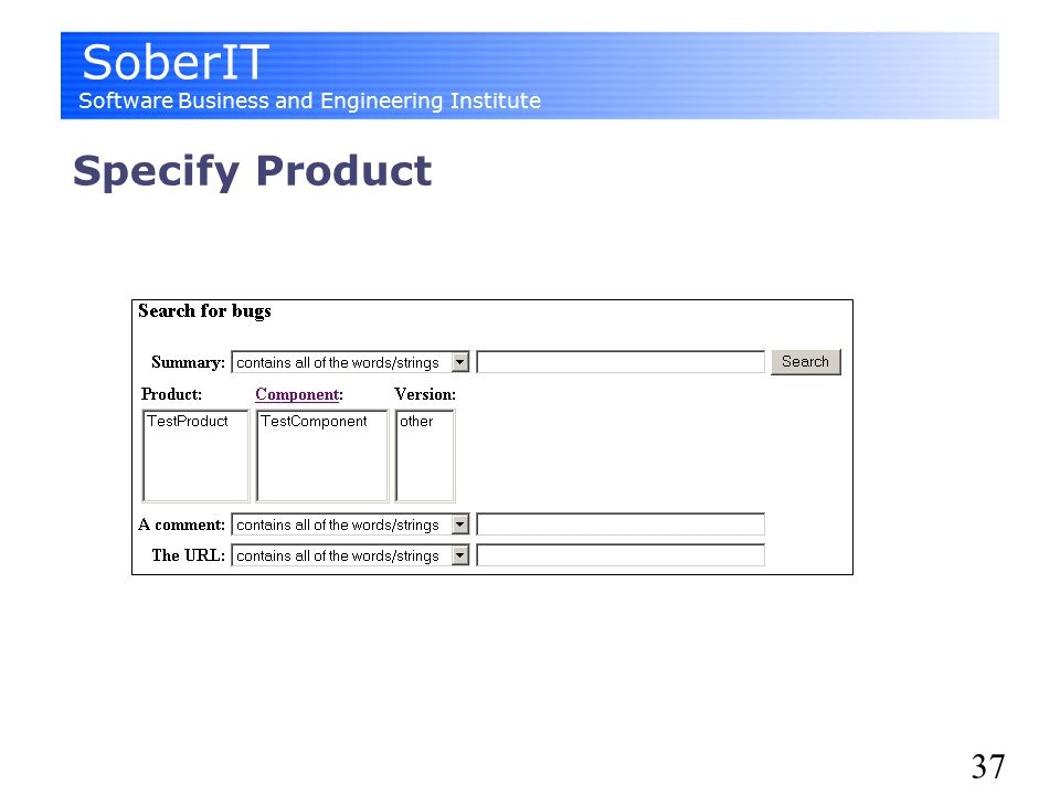 SoberIT Software Business and Engineering Institute 37 Specify Product