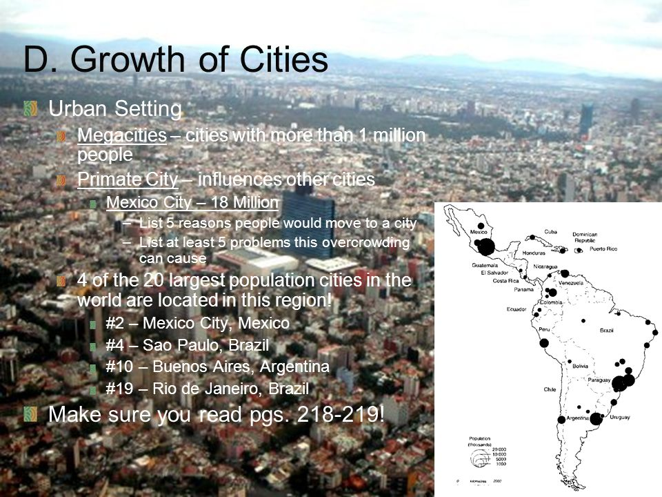 Ch 9 PP6 D. Growth of Cities Urban Setting Megacities – cities with more than 1 million people Primate City – influences other cities Mexico City – 18