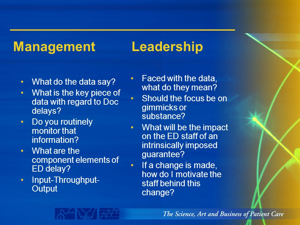 Management Leadership What do the data say? What is the key piece of data with regard to Doc delays? Do you routinely monitor that information? What a
