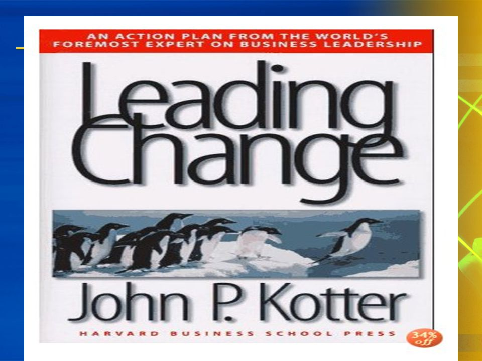 Leading Change John Kotter 1.Increase urgency 2. Build the guiding team 3.