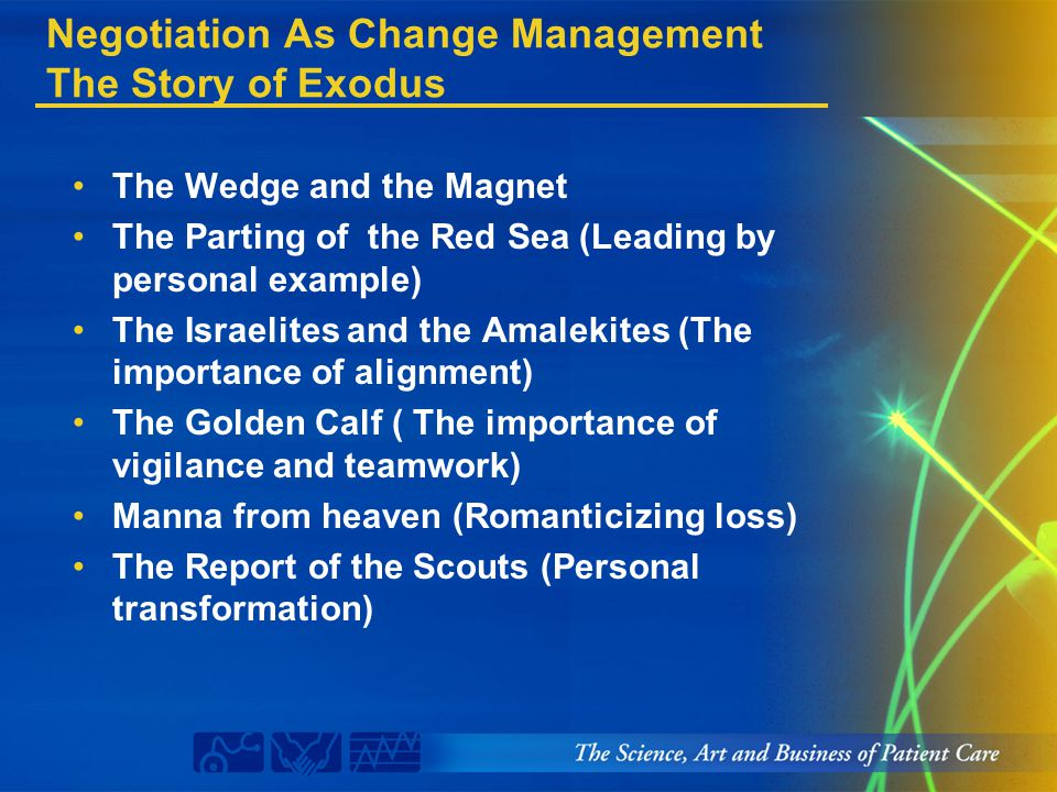 Negotiation As Change Management The Story of Exodus The Wedge and the Magnet The Parting of the Red Sea (Leading by personal example) The Israelites