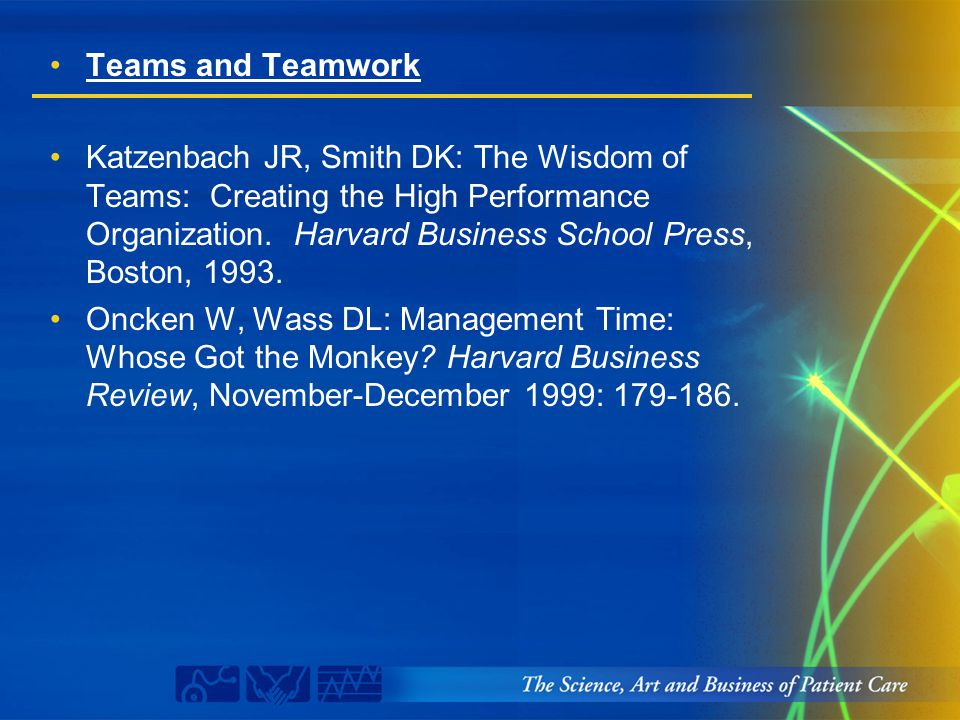 Teams and Teamwork Katzenbach JR, Smith DK: The Wisdom of Teams: Creating the High Performance Organization. Harvard Business School Press, Boston, 19